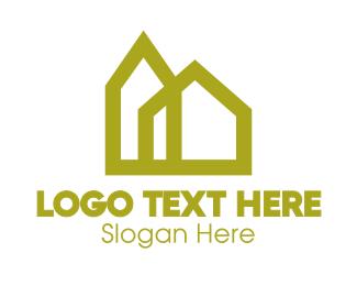 Home - Yellow Geometric House logo design