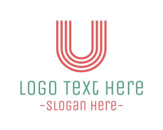 Striped - Coral Striped Letter U logo design