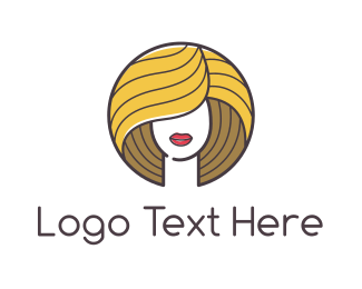 Manicure - Beautiful Blonde Woman logo design