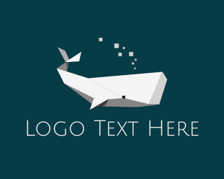 Large - Origami White Whale logo design