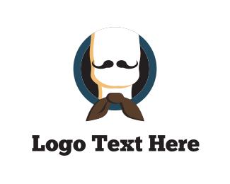 Barber - Bow & Moustache logo design