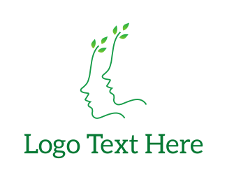 Twig - Green Leaves Face logo design