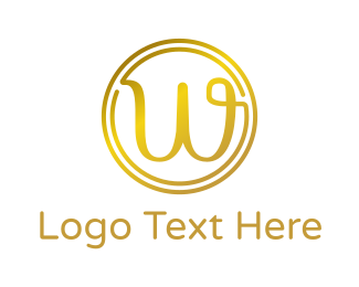 Fudge - Gold Cursive W logo design