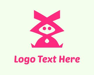 Rabbit - Pink Character logo design