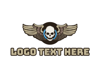 Clan - Wheel Skull Wing logo design