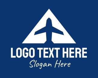 Aeronautics - Blue Airplane A logo design