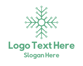 Skiing - Flower Tech logo design