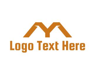 Rent - Orange Roof M logo design