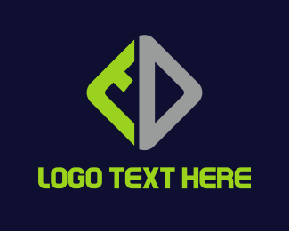 Tech - Grey & Green Diamond logo design