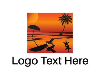 Starfish - Beach Sunset logo design