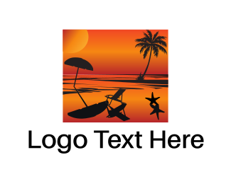 Ibiza - Beach Sunset logo design