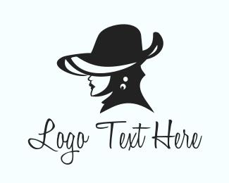 Elegant Hat Lady Logo