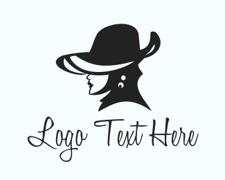 Portrait - Elegant Hat Lady logo design