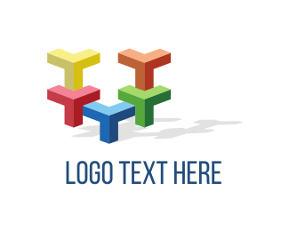 Tetris - Colorful Blocks logo design