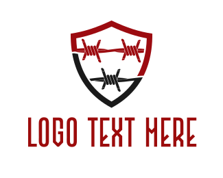 Razor - Barbed Wire Shield logo design