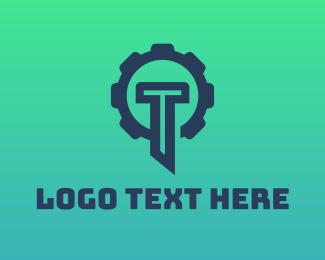 Machinery - Blue Gear Letter T logo design
