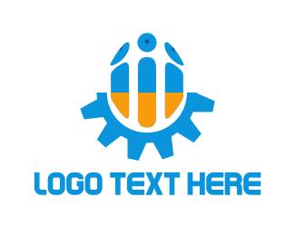 Robotics - Blue & Orange Screw logo design