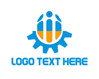 Metallic - Blue & Orange Screw logo design