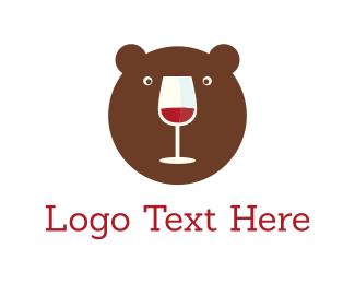 Bear - Bear & Wine logo design