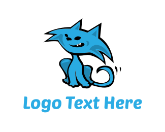 Pet Grooming - Blue Cat Cartoon logo design