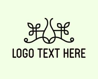 Wrought Iron - Floral Vase logo design