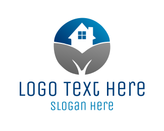 Home - Blue & Grey Home logo design