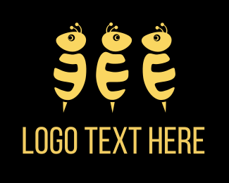 Wasp - Three Bees logo design