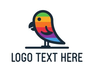 Flat - Rainbow Parrot logo design