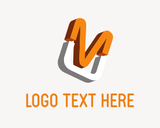 Television - Orange Letter M logo design