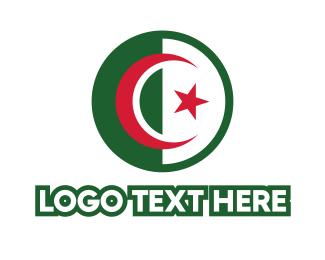 Algeria - Circle Algeria Flag logo design