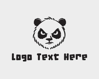 Aggressive - Angry Panda Sketch logo design