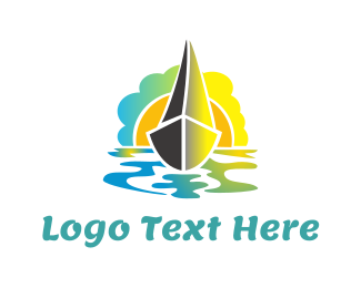 Canoe - Boat & Sunset logo design