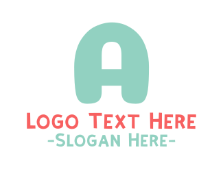 Playground - Turquoise Bold Letter A logo design