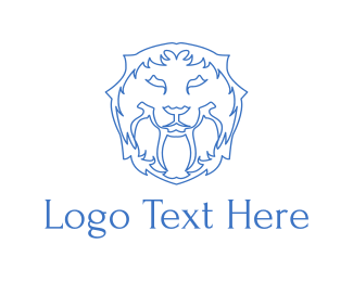 Minimal - Blue Lion Lines logo design