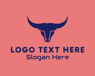 Steakhouse - Modern Cyber Bull logo design