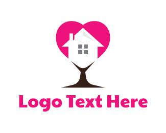 Dating App - Heart Tree House logo design