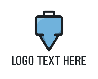 Hire - Suitcase Pin logo design