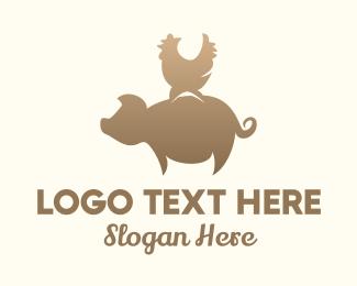 Piglet - Pig & Rooster logo design