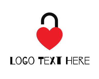 Lock - Unlocked Red Heart logo design
