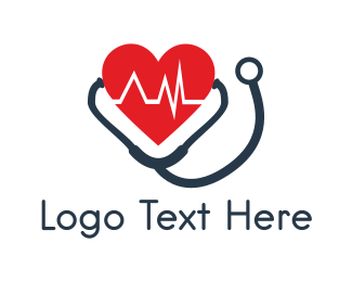 Cardiology - Heart & Stethoscope logo design