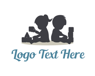 Toy - Kids Playing Silhouette logo design