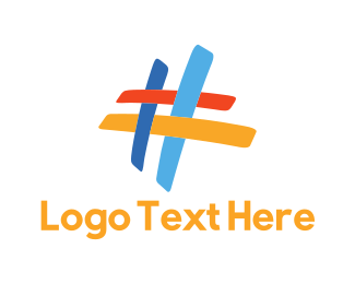 Label - Colorful Hashtag logo design