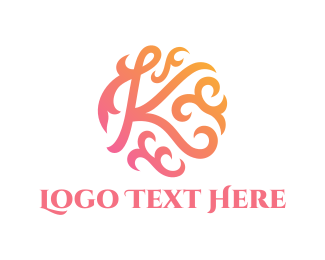 Text - Floral Letter K logo design