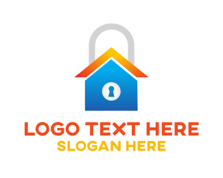 Security Service - Locked Blue Home logo design