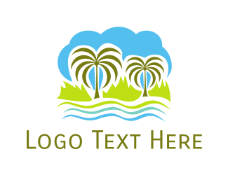 Island - Tropical Oasis logo design