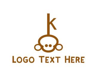 Locksmith - Chimp Key logo design