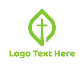 Religious - Leaf Cross logo design