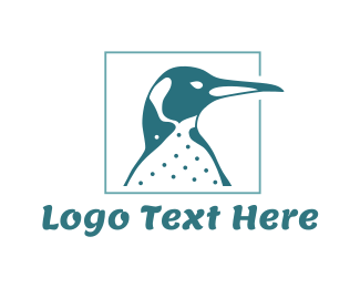 Cold - Blue Emperor Penguin logo design