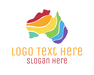 Australia - Colorful Australian Map logo design