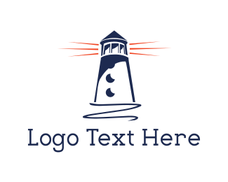 Nautical - Blue Lighthouse  logo design